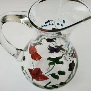 Oneida Pitcher Glass Floral Designs Hand Painted
